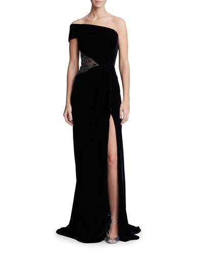 One-Shoulder Embellished-Waist Velvet Column Gown