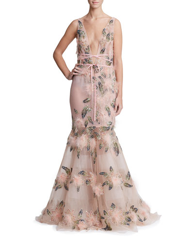 Feather Trim Plunging Fit-&-Flare Gown