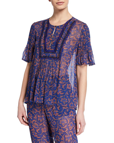 Mercer Flutter-Sleeve Printed Chiffon Top