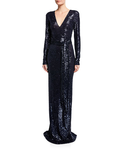 a0081a256437a Long-Sleeve V-Neck Gown Quick Look. Naeem Khan