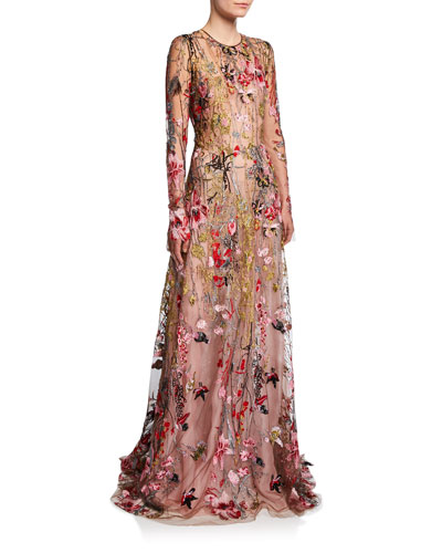 90130987a8 Long-Sleeve Flower Embroidered Gown Quick Look. Naeem Khan