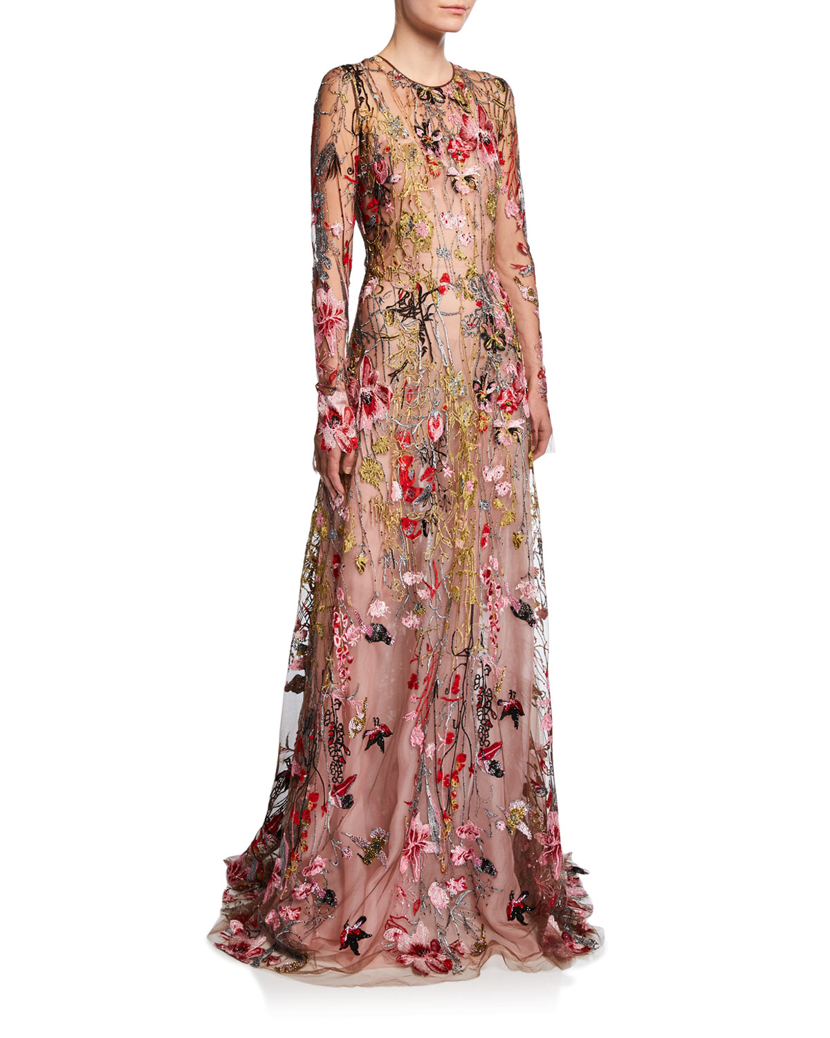 Naeem Khan Tops LONG-SLEEVE FLOWER EMBROIDERED GOWN