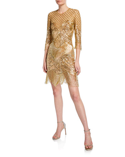3/4-Sleeve Beaded-Fringe Cocktail Dress