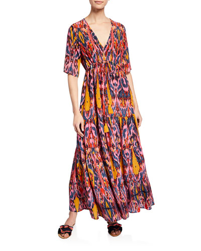 Kalila 1/2-Sleeve Ikat Caftan Dress