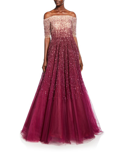 Off-the-Shoulder Degrade Sequined Ball Gown