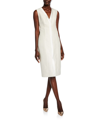 Silk V-Neck Cocktail Dress