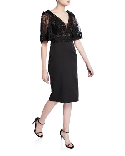 Lace Flutter-Sleeve Cocktail Dress