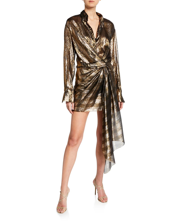 Oscar De La Renta Dresses METALLIC-STRIPED SHIRTDRESS