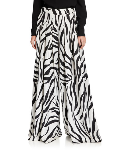 Zebra-Print Oversized Pants