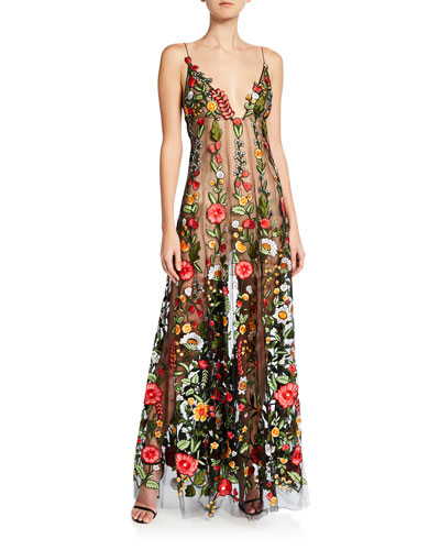 Floral-Embroidered Tulle Gown