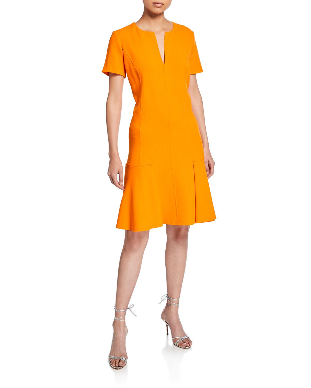 Oscar De La Renta Dresses SPLIT-NECK SHORT-SLEEVE DRESS