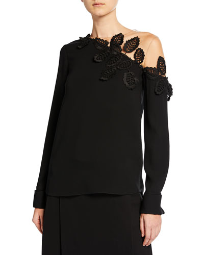 Embroidered Mesh-Shoulder Blouse