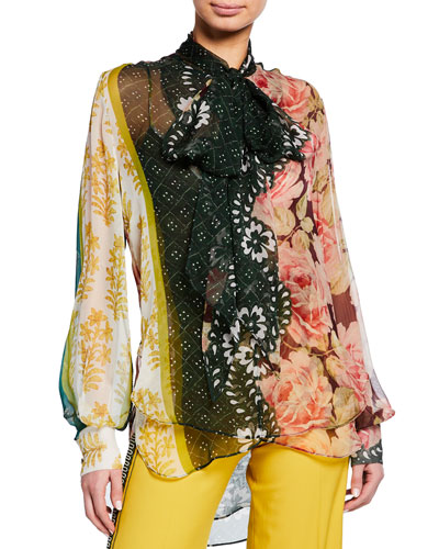 Mixed Floral-Print Chiffon Scarf-Neck Blouse