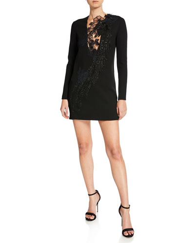 Beaded Bird Long-Sleeve Mini Dress