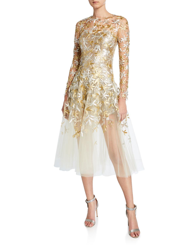 Oscar De La Renta Dresses GOLDEN-LEAF COCKTAIL DRESS