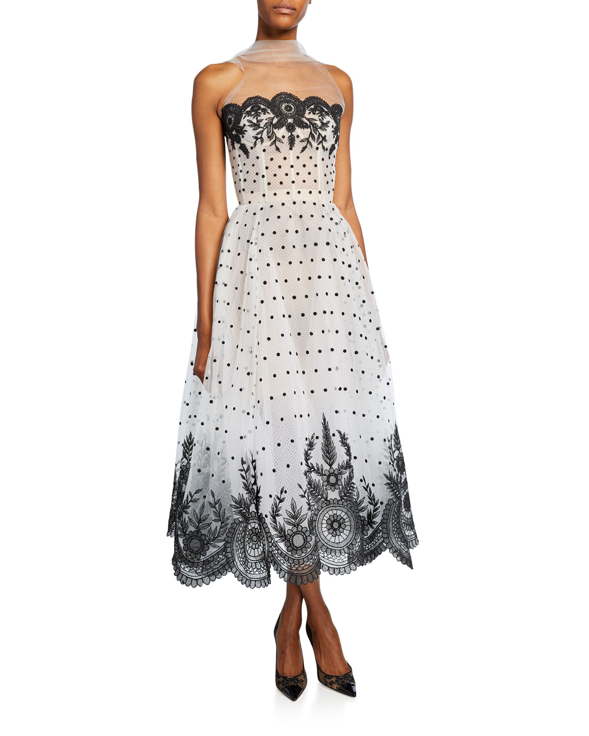 Oscar De La Renta Dresses STRAPLESS LACE EMBROIDERED DRESS