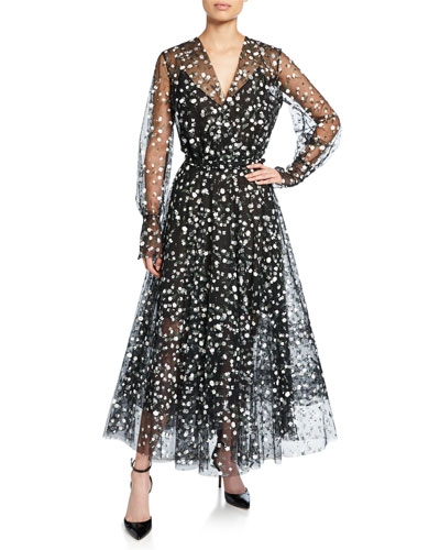 Floral Long-Sleeve Tulle Wrap Dress with Full Skirt