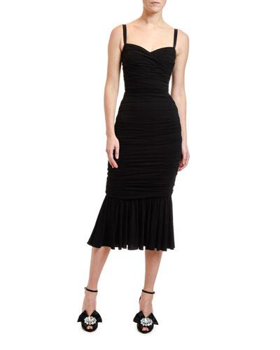 Ruched-Jersey Midi Dress