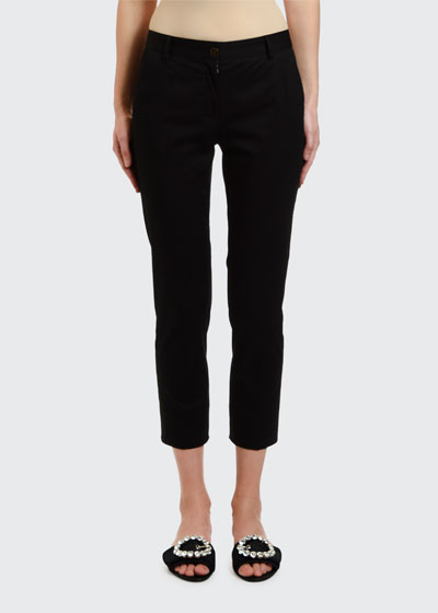 Stretch-Cotton Gabardine Ankle Pants