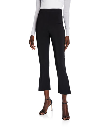 High Rise Cropped Flare-Cuff Pants