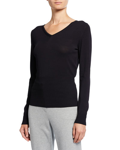 Long-Ssleeve Jersey Ribbed Sweater