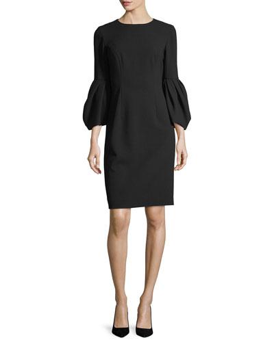 Blouson-Sleeve Cocktail Sheath Dress