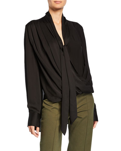Oversized Long-Sleeve Draped Wrap Neck Blouse
