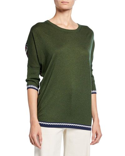 Striped Chiffon-Back Crewneck Sweater