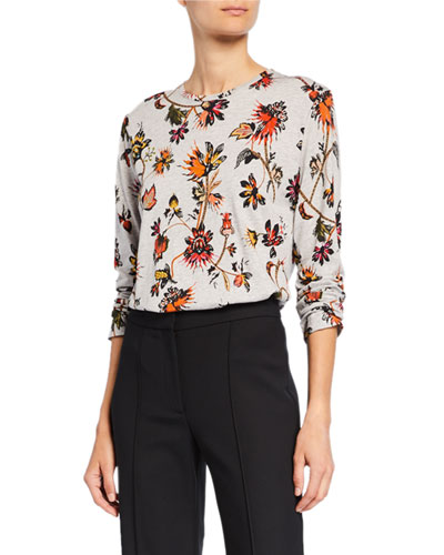 Long-Sleeve Indian Floral Print T-Shirt
