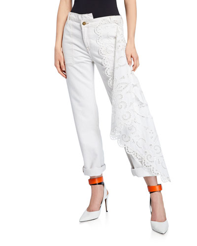 Louise Lace-Draped Jeans