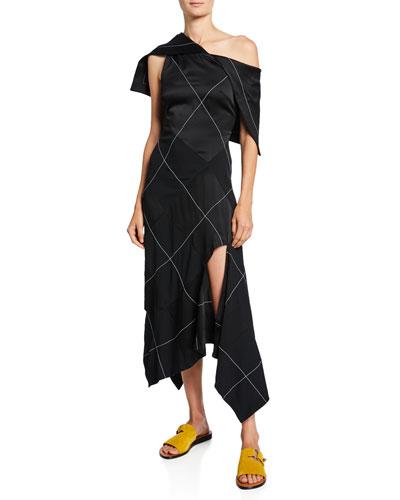 Contrast-Stitched Bodycon Dress