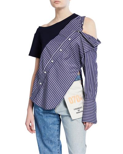 Asymmetric Sweatshirt Shoulder Button-Front Shirt