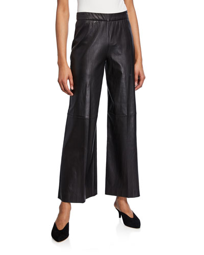 Leather Straight-Leg Trousers