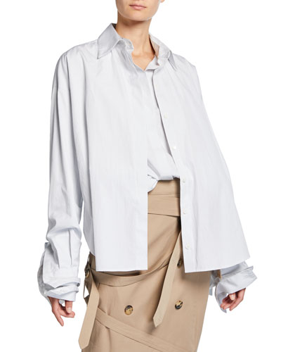 Oversized Poplin Double Shirt