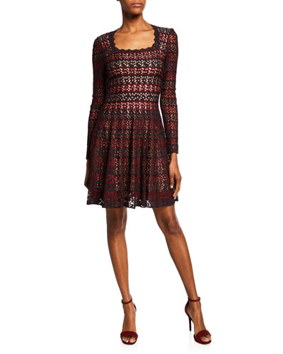 Square-Neck Lace-Striped Fit & Flare Dress