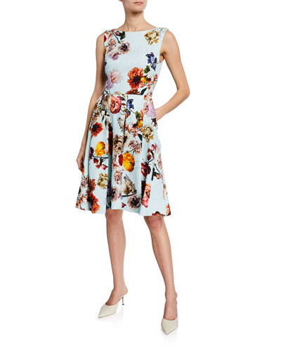 Floral-Print Jacquard Cocktail Dress