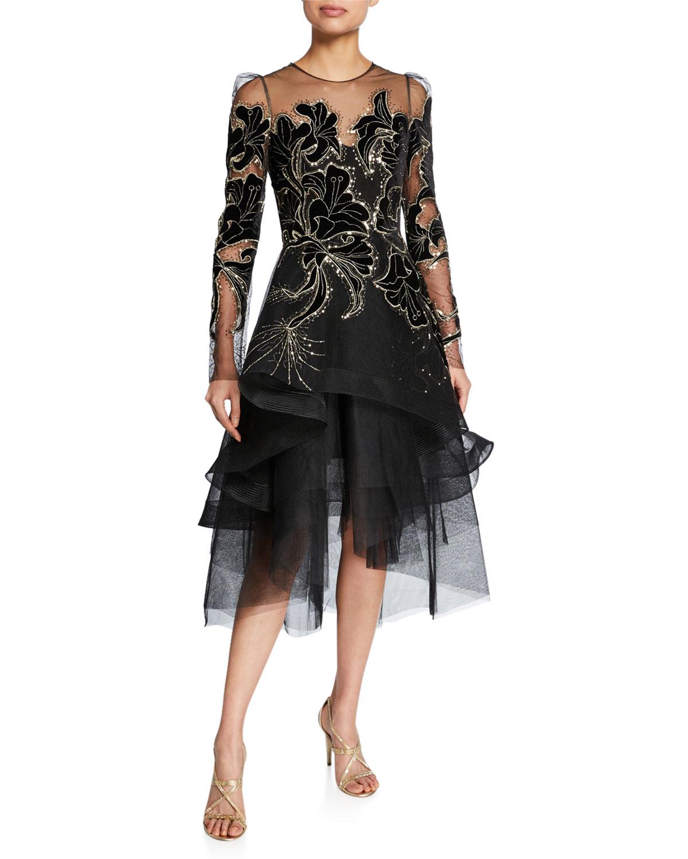 Monique Lhuillier Dresses FLORAL VELVET EMBROIDERED TULLE DRESS