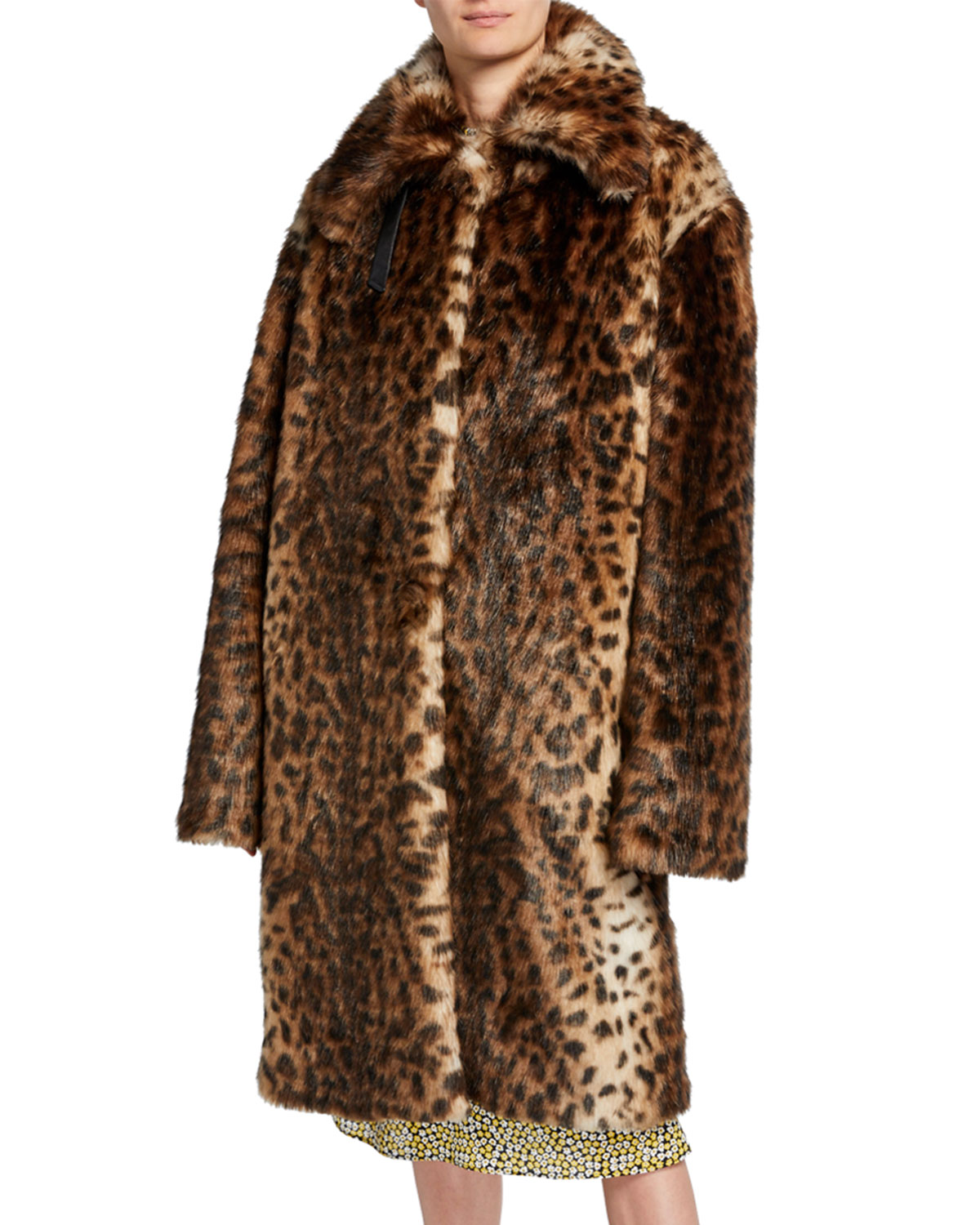 Rokh Coats LEOPARD-PRINT FAUX-FUR OVERSIZED COAT