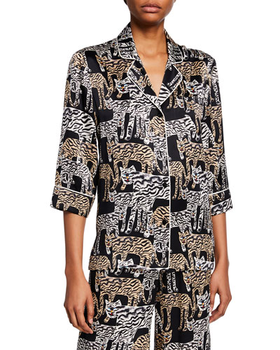 Tiger-Print 1/2-Sleeve Pajama Top