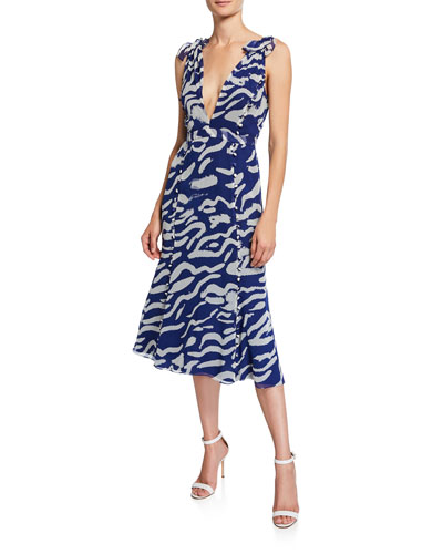 Tiger-Print Sleeveless Silk Tie-Shoulder Midi Dress