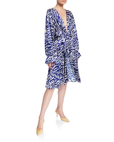 Tiger-Print Satin Tie-Waist Dress