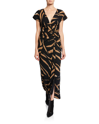 Tiger-Print Short-Sleeve Wrap Dress
