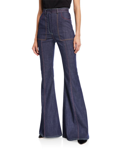 High-Rise Stitched Flare-Leg Jeans