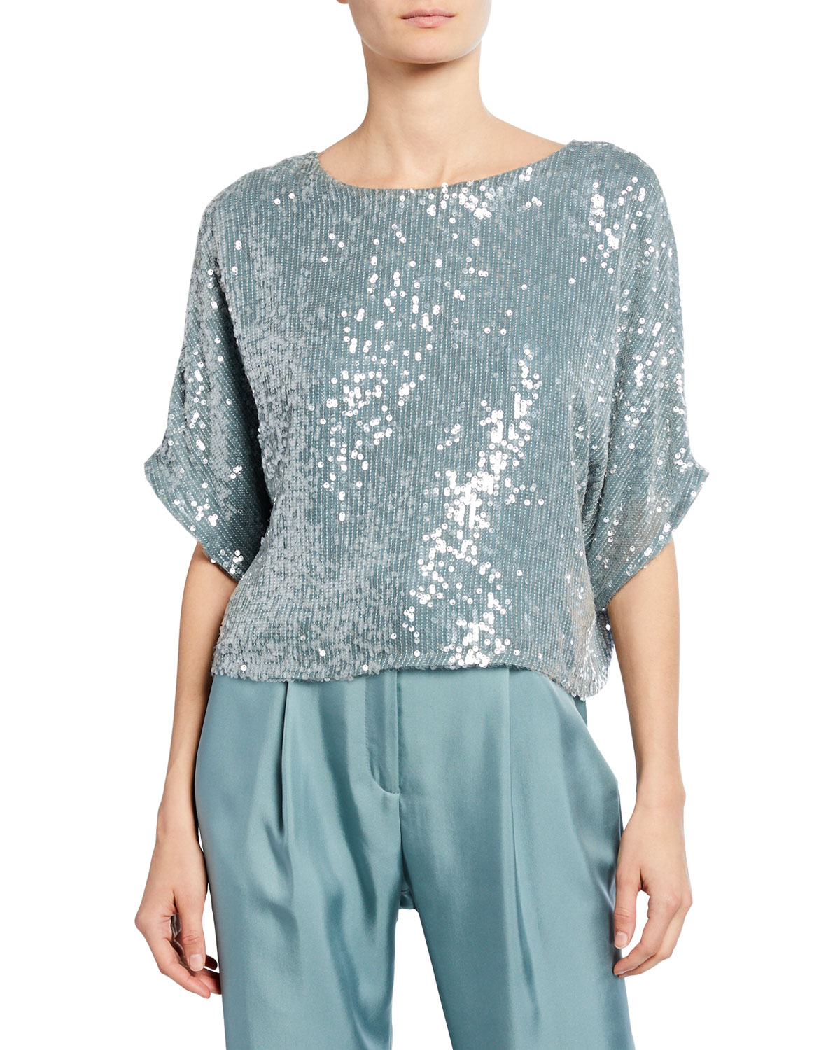 Sally Lapointe Tops SEQUINED DOLMAN-SLEEVE TEE