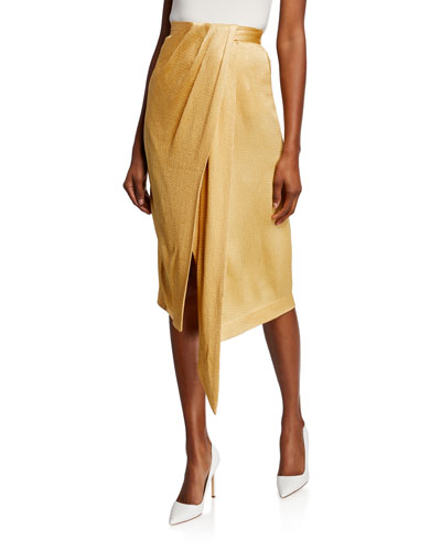 Satin Twisted Wrap Skirt