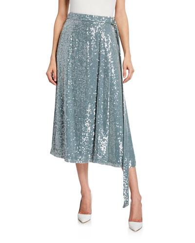 Sequined Midi Wrap Skirt