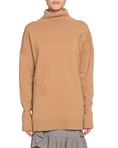 Wool-Cashmere Bird-Embroidered Turtleneck Sweater