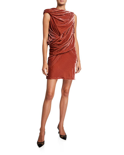 Rose Velvet Draped Dress