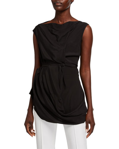 Cocoon Crepe Boat-Neck Tank Top