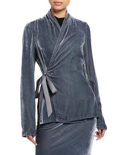 Velvet Long-Sleeve Wrap Top